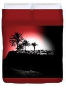 Palms Black White Red Duvet Cover