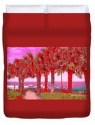 Palms In Red Duvet Cover