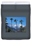 Palms With Snow Duvet Cover