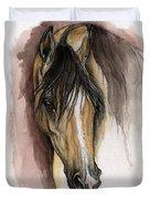 Palomino Arabian Horse Watercolor Portrait Duvet Cover