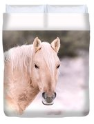 Palomino In The Snow Duvet Cover