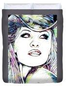 Pamela  Anderson Portrait Duvet Cover
