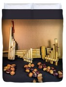Pan Flutes And Buckeyes Duvet Cover