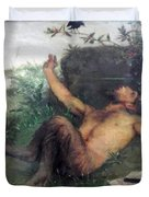 Pan Whistling At A Blackbird 1863 Duvet Cover
