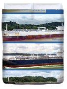 Panama Canal Cargo Ships Duvet Cover