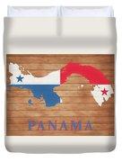 Panama Rustic Map On Wood Duvet Cover