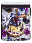 Pancakes With Chocolate Sauce Duvet Cover