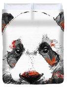 Panda Bear Art - Black White Red - By Sharon Cummings Duvet Cover