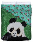 Panda In The Rain Duvet Cover