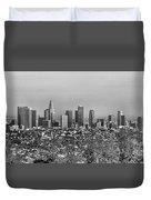 Pano Los Angeles City Black White Duvet Cover