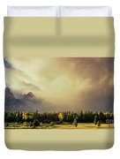 Panorama Clearing Storm Over The Grand Tetons Duvet Cover