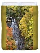Panorama Fall Color Chapel Falls Upper Penninsula Mi Duvet Cover