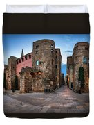 Panorama Of Ancient Roman Gate And Placa Nova In The Morning, Ba Duvet Cover
