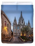 Panorama Of Cathedral Of The Holy Cross And Saint Eulalia In The Duvet Cover