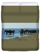 Panorama Of Elephant Herd Drinking From River Duvet Cover