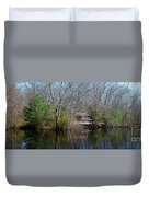 Panorama Of Lake, Trees And Cabin Duvet Cover