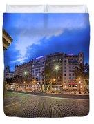 Panorama Of Placa De Catalunya In The Morning, Barcelona, Spain Duvet Cover
