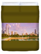Panorama Of South Side Of Chicago Skyline And One Museum Park From Shedd Aquarium - Chicago Illinois Duvet Cover