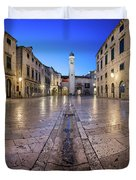 Panorama Of Stradun Street And Luza Square In Dubrovnik, Dalmati Duvet Cover