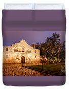 Panorama Of The Alamo In San Antonio At Dawn - San Antonio Texas Duvet Cover