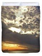 Panorama Of The Sunset In Caesarea Duvet Cover