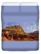 Panorama The Castle On A Cloudy Morning Capitol Reef National Park Duvet Cover