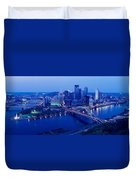 Panoramic Evening View Of Pittsburgh Duvet Cover