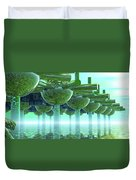 Panoramic Green City And Alien Or Future Human Duvet Cover