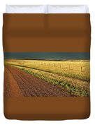 Panoramic Prairie Storm Canada At Sunset Duvet Cover