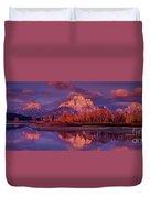 Panoramic Sunrise Oxbow Bend Grand Tetons National Park Duvet Cover