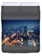 Panoramic View Of Dubai City Duvet Cover