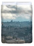 Panoramic View Of Old Jerusalem City Duvet Cover