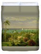 Panoramic View Of The Harbour At Nassau In The Bahamas Duvet Cover by Albert Bierstadt
