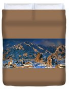 Panoramic Winter In The Alabama Hills Eastern Sierras California Duvet Cover
