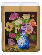 Pansies And Ranunculus Duvet Cover