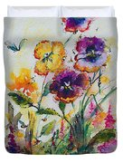 Pansies In My Garden Watercolor And Ink Duvet Cover
