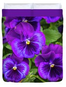 Pansies In Purple And Blue Duvet Cover
