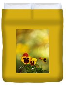 Pansies In The Autumn Glow Duvet Cover