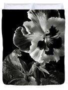 Pansy In Black And White Duvet Cover