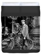 Papa With Charles On Bicycle, Fred On Porch Duvet Cover