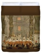 Papal Ceremony In St Peter In Rome Under The Canopy Of Bernini Duvet Cover