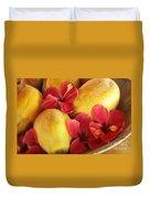 Papaya Fruit And Hibiscus Duvet Cover