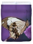 Papilio Dardanus On Violet Flowers Duvet Cover