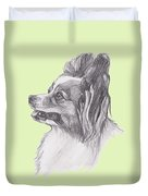 Papillon Dog Charcoal Drawing Duvet Cover