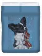 Papillon Puppy With Xmas Stocking Duvet Cover