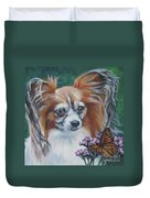 Papillon With Monarch Duvet Cover