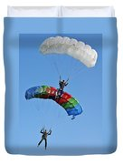 Parachutists Biplane Duvet Cover