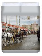 Parade Of Horse Drawn Carriages On Antonio Bienvenida Street Wit Duvet Cover