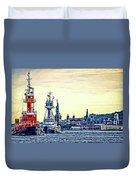 Parade Of Tugs, Hudson River, New York City Duvet Cover
