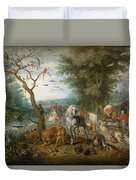 Paradise Landscape With Animals Duvet Cover